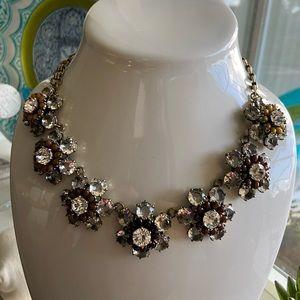 🔥NWT JCrew Black-Rose Floral Bloom Necklace